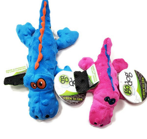 GoDog Gator Just For Me Mini Dog Toy with Chew Guard-PINK