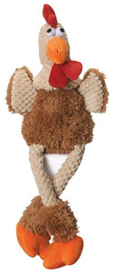 GoDog Checkers Skinny Rooster Dog Toy Large