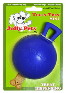 Jolly Pets Tug N Toss Ball Blue Mini Dog Toy stands up to the roughest,toughest dogs