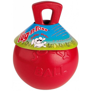 Jolly Pets Tug N Toss Ball Red 6 inch Dog Toy stands up to the roughest,toughest dogs