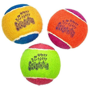 KONG Happy Birthday Squeaker Balls Medium 3 Pack