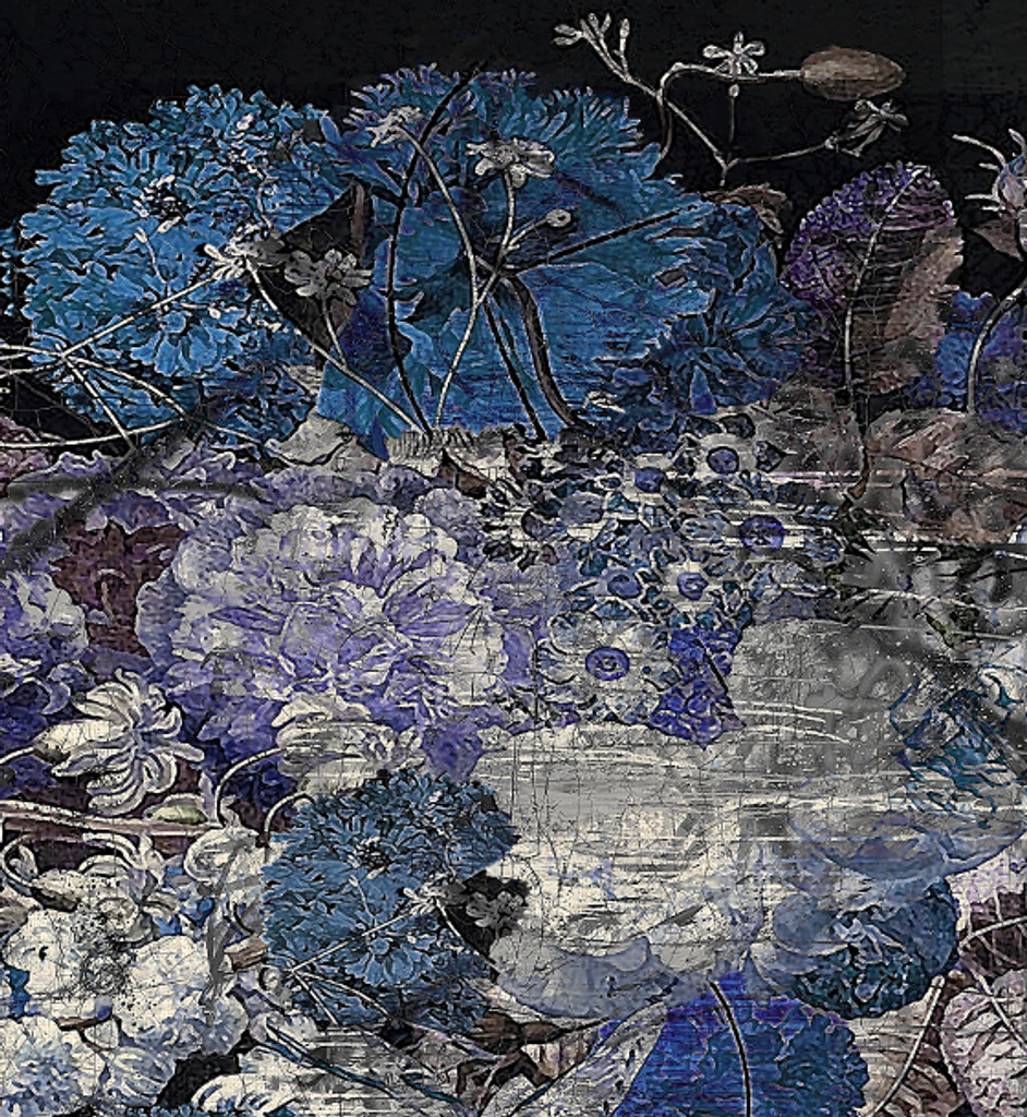 Fabric - Still Life with Flowers - Blue