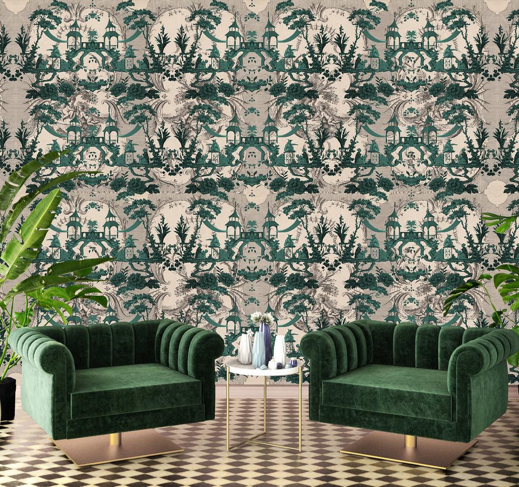 Wallpaper - Chinoiserie - Lucky Jade Garden - Emerald
