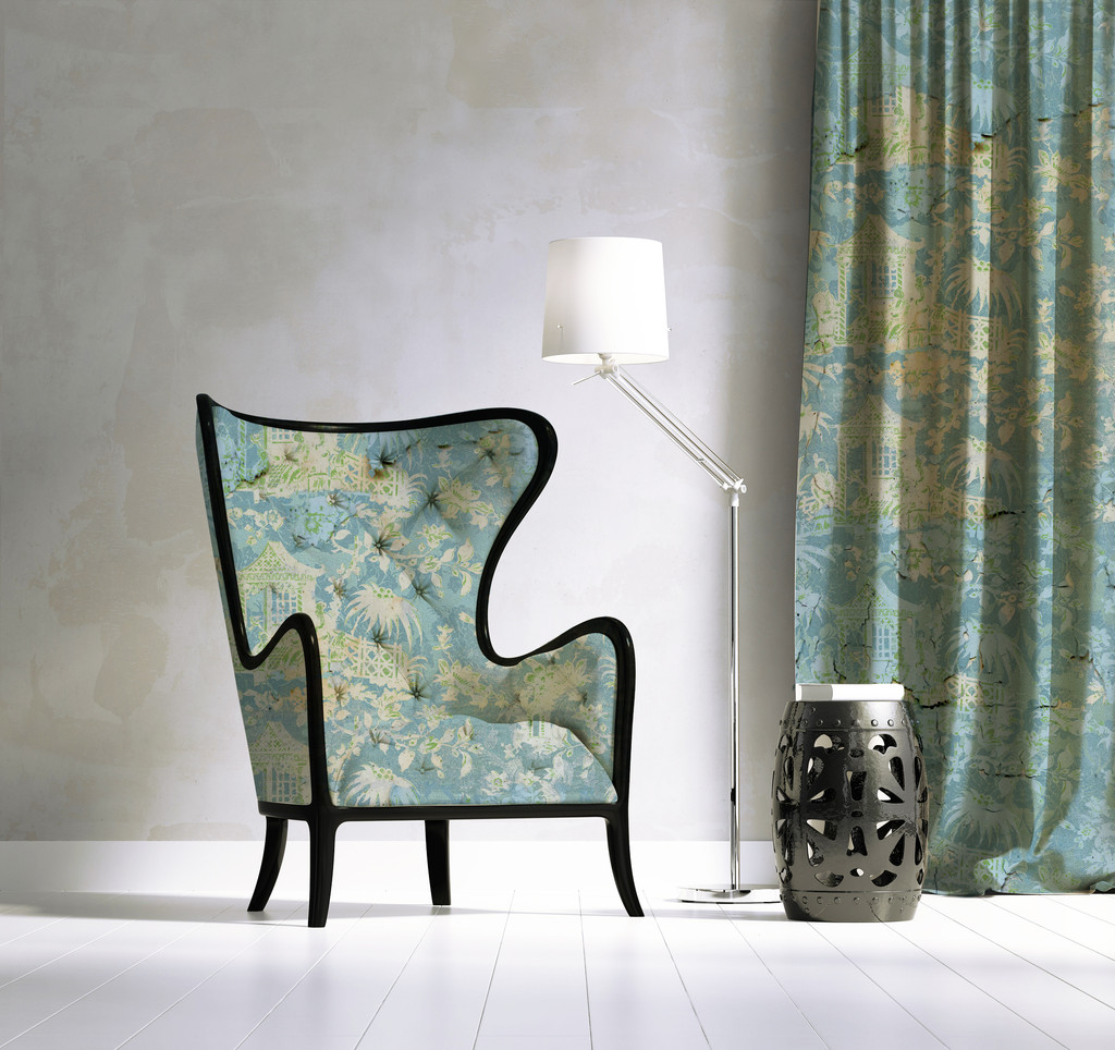 Fabric - Chinoiserie - Enchanted Garden - Melting Blue