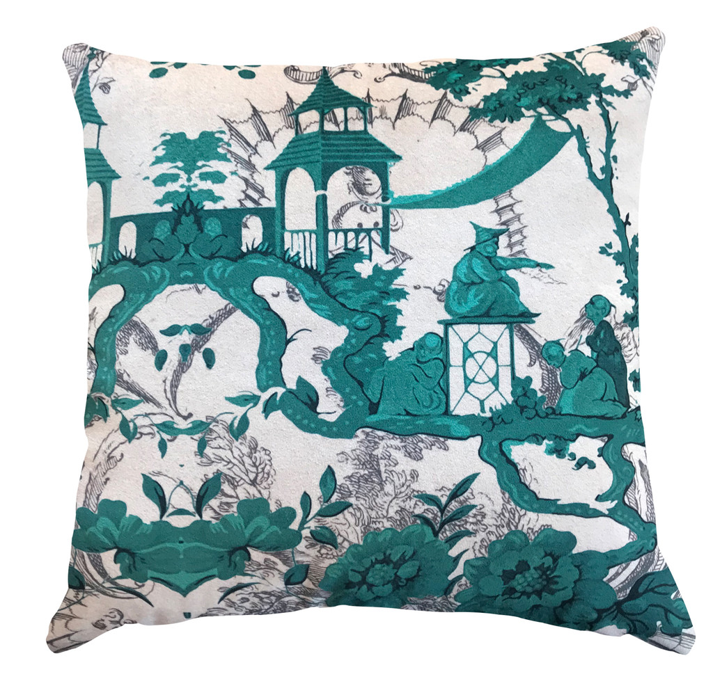 Cushion - Chinoiserie - Lucky Jade Garden - Emerald