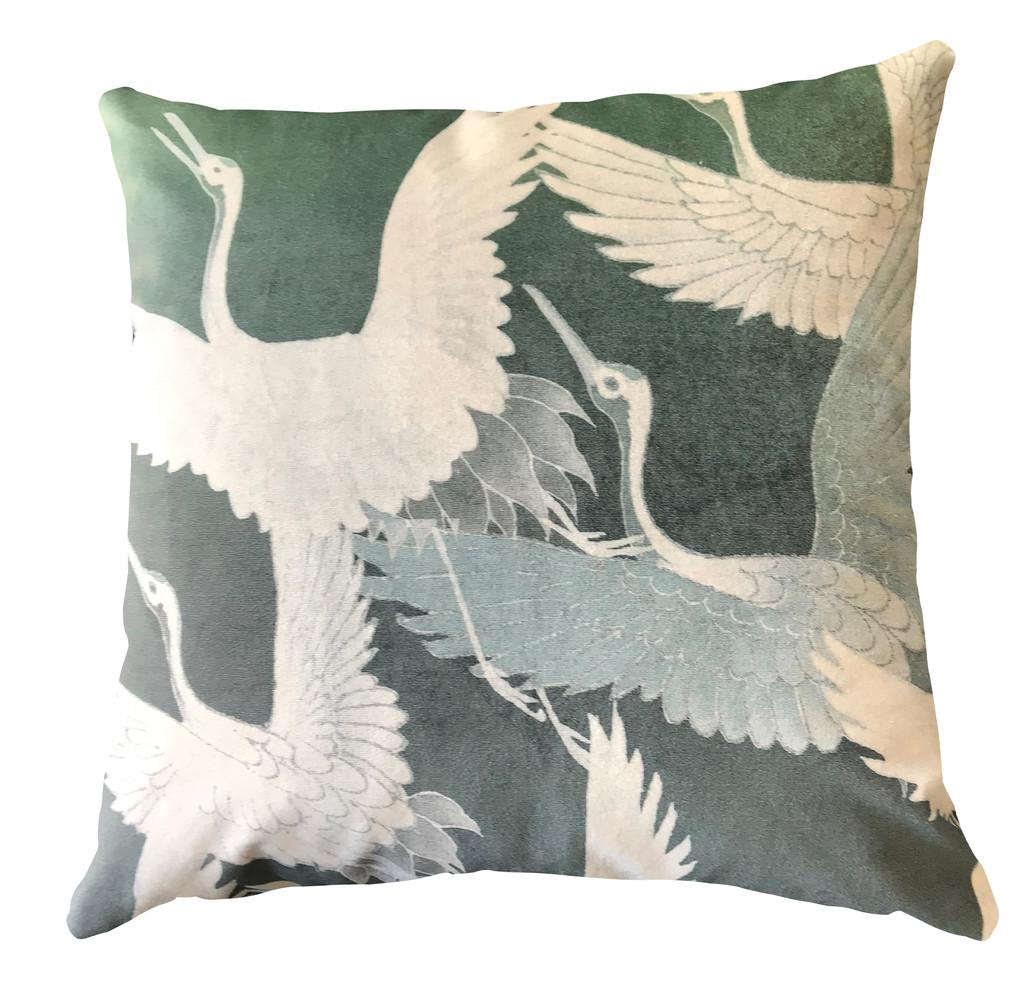 Cushion Cover - Ryokan Dreaming - Cranes in Flight Green