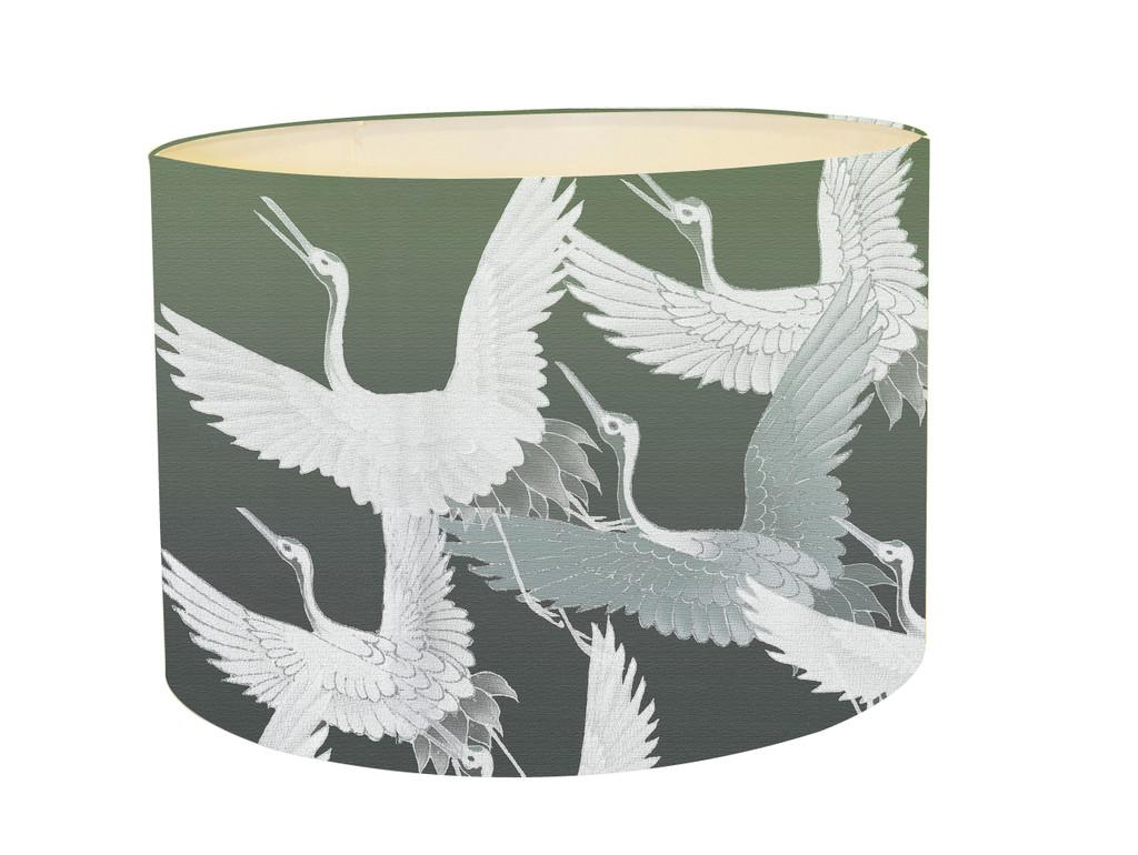 Lampshade - Ryokan Dreaming - Cranes in Flight Green