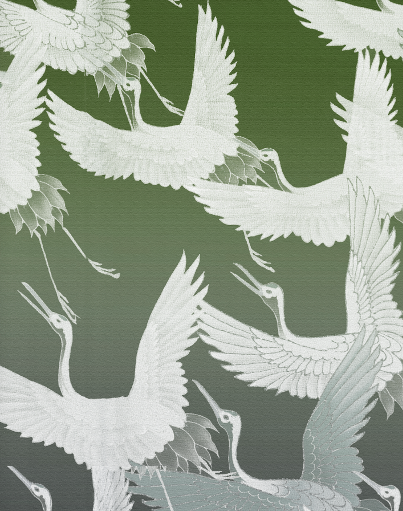 Fabric - Ryokan Dreaming - Cranes in Flight - Green