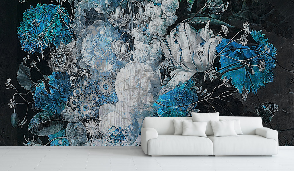 Wallpaper - Still Life with Flowers - Bright Blue