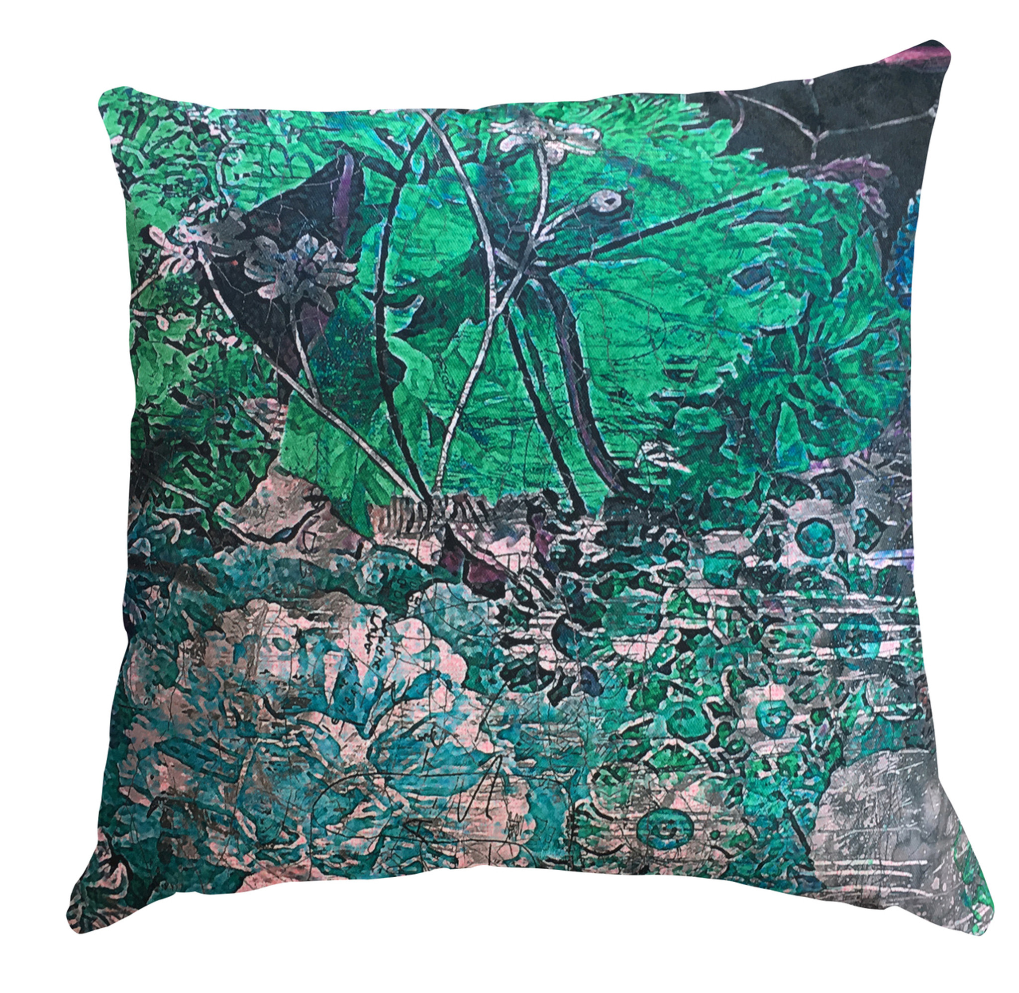 Cushion Cover - Still Life with Flowers - Emerald