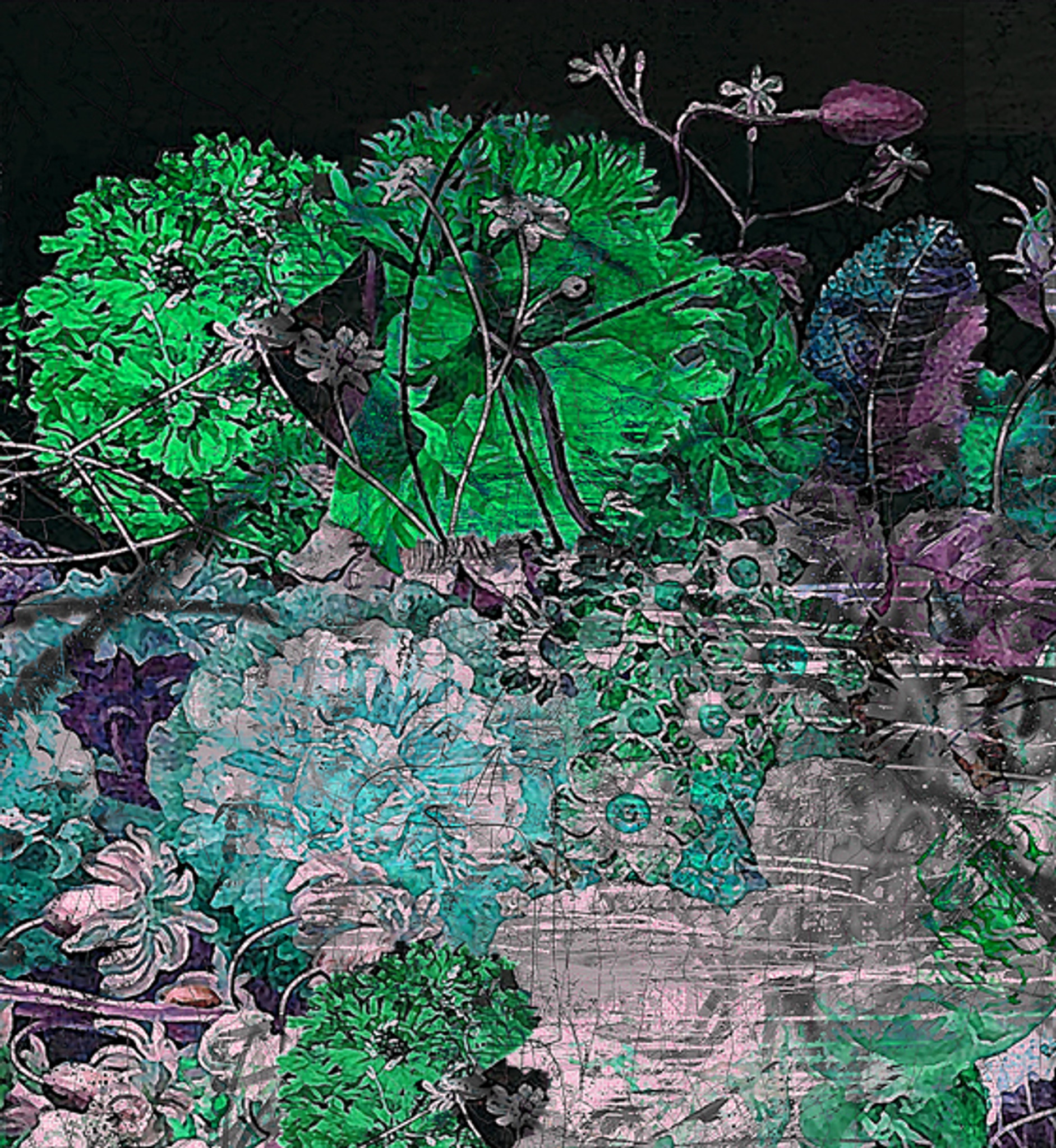 Fabric - Still Life with Flowers - Emerald