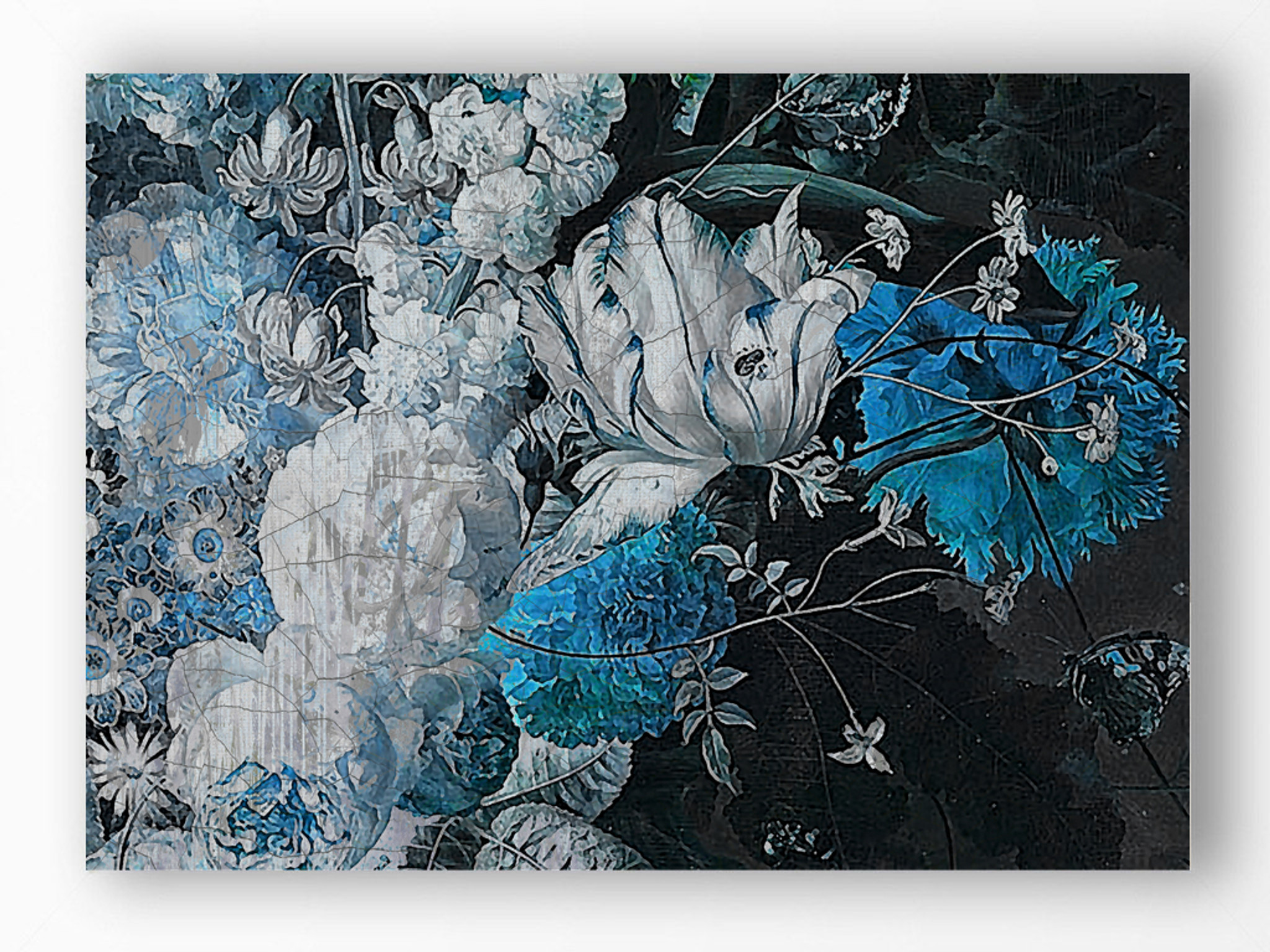 Art Print - Still Life with Flowers - Bright Blue