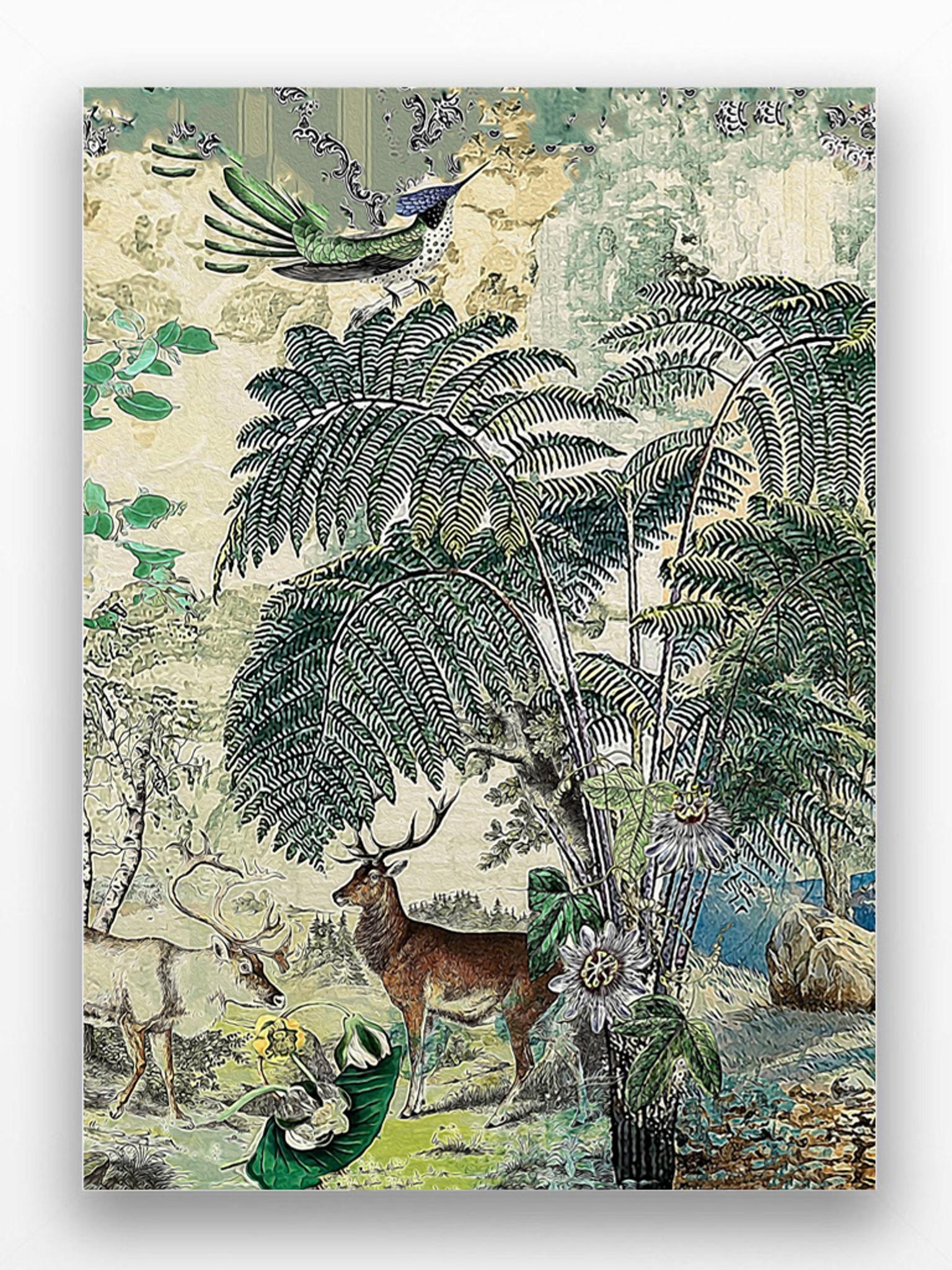 Art Print - Vintage Peacock - Bird and Deer