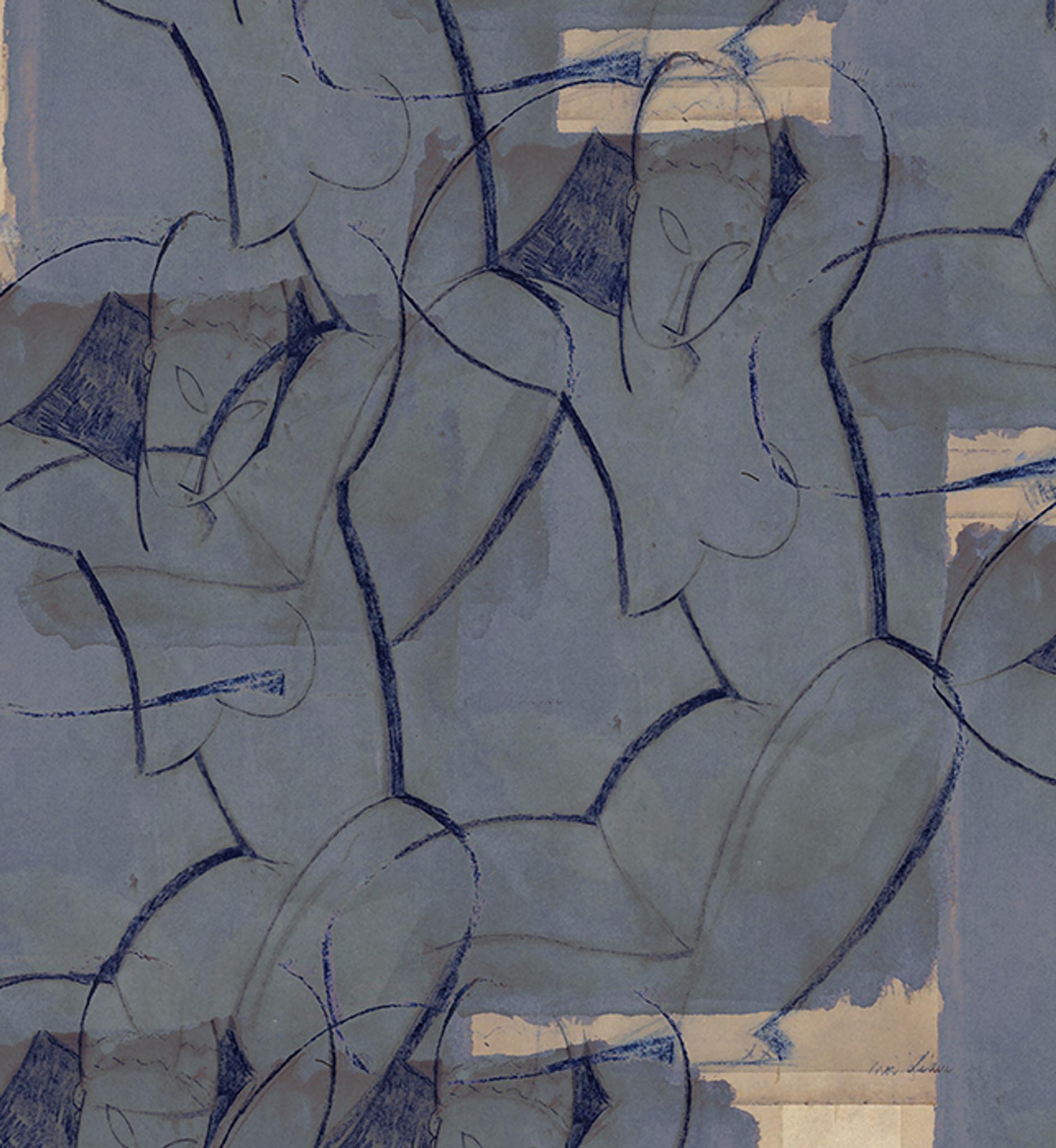 Wallpaper - Modigliani Was Here - Caryatid Blue