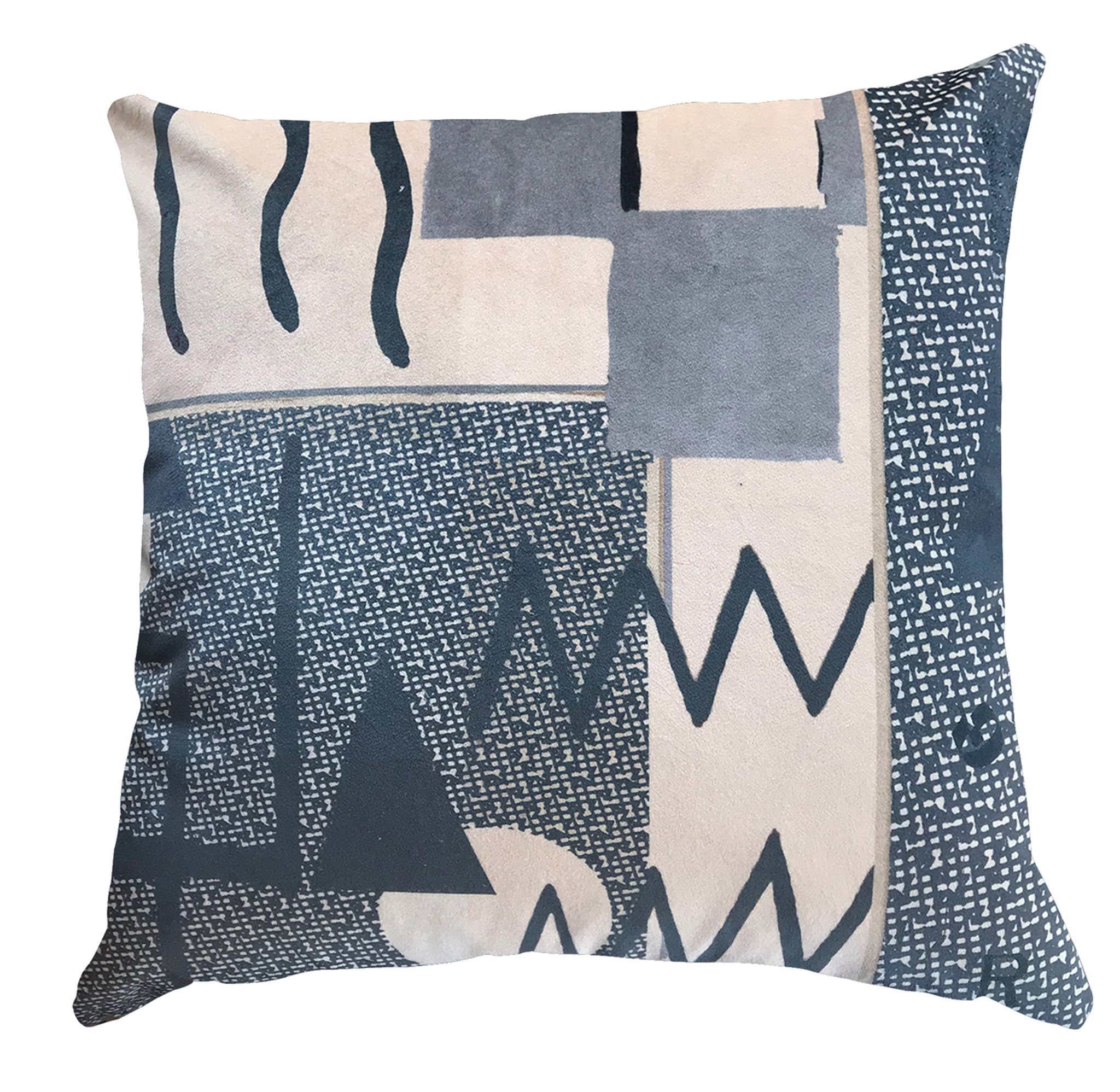 Cushion - Modigliani Was Here - Abstract in Blue Zig Zag
