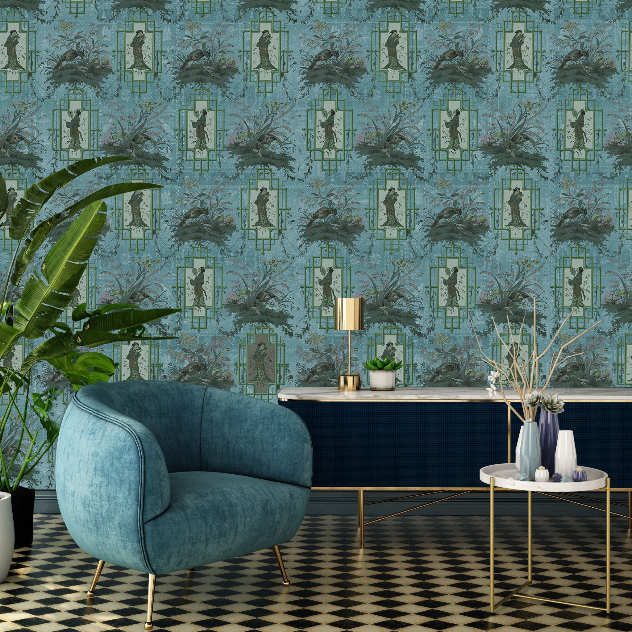 Wallpaper - Chinoiserie - Blue