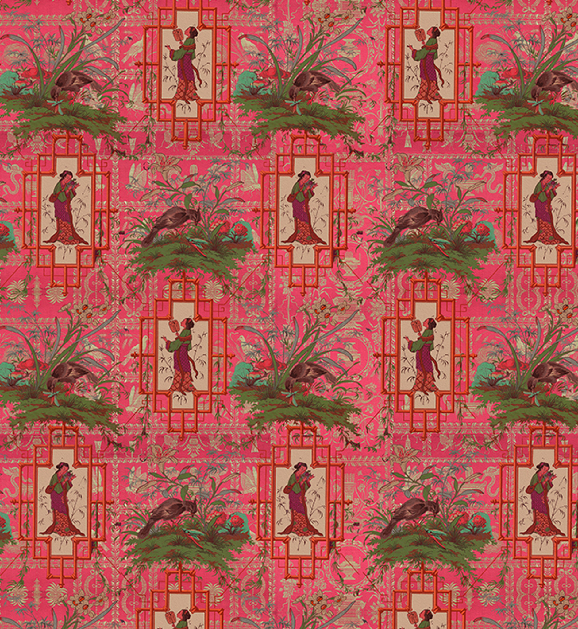 Wallpaper - Chinoiserie - Hot Pink