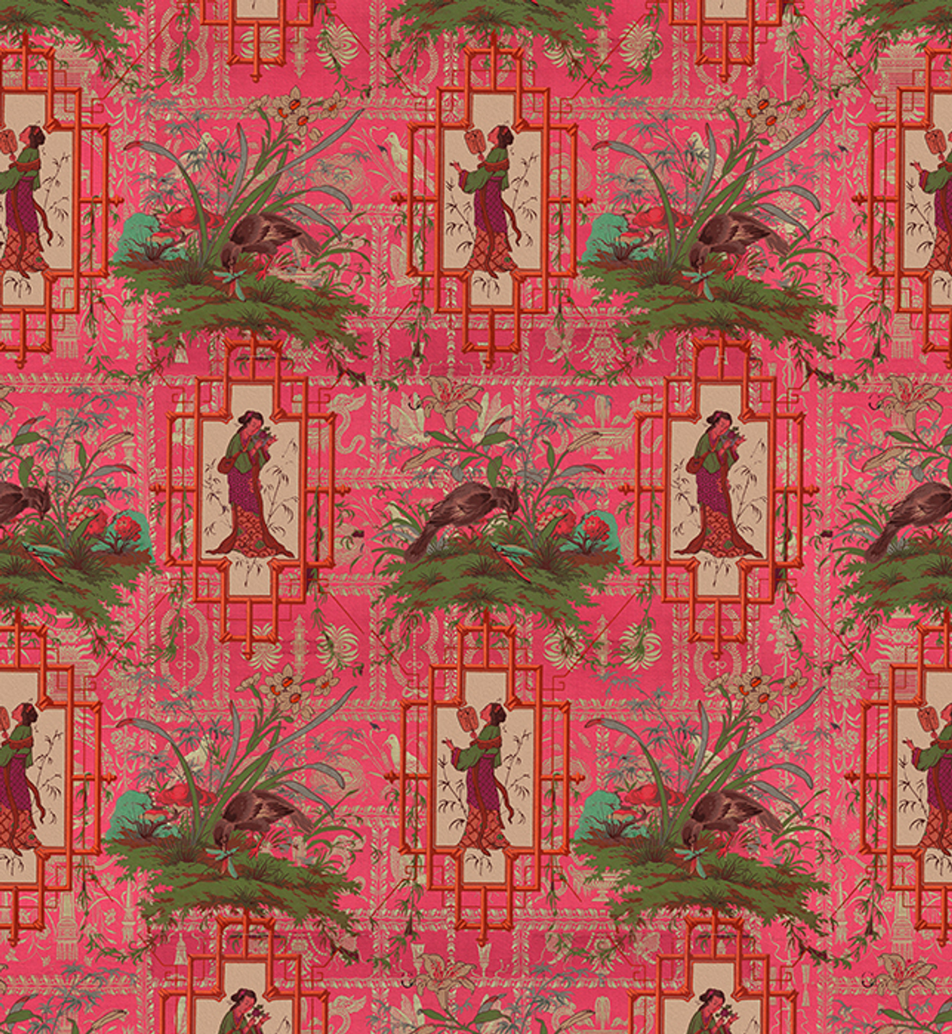 Fabric - Chinoiserie - Eldest Princess - Hot Pink