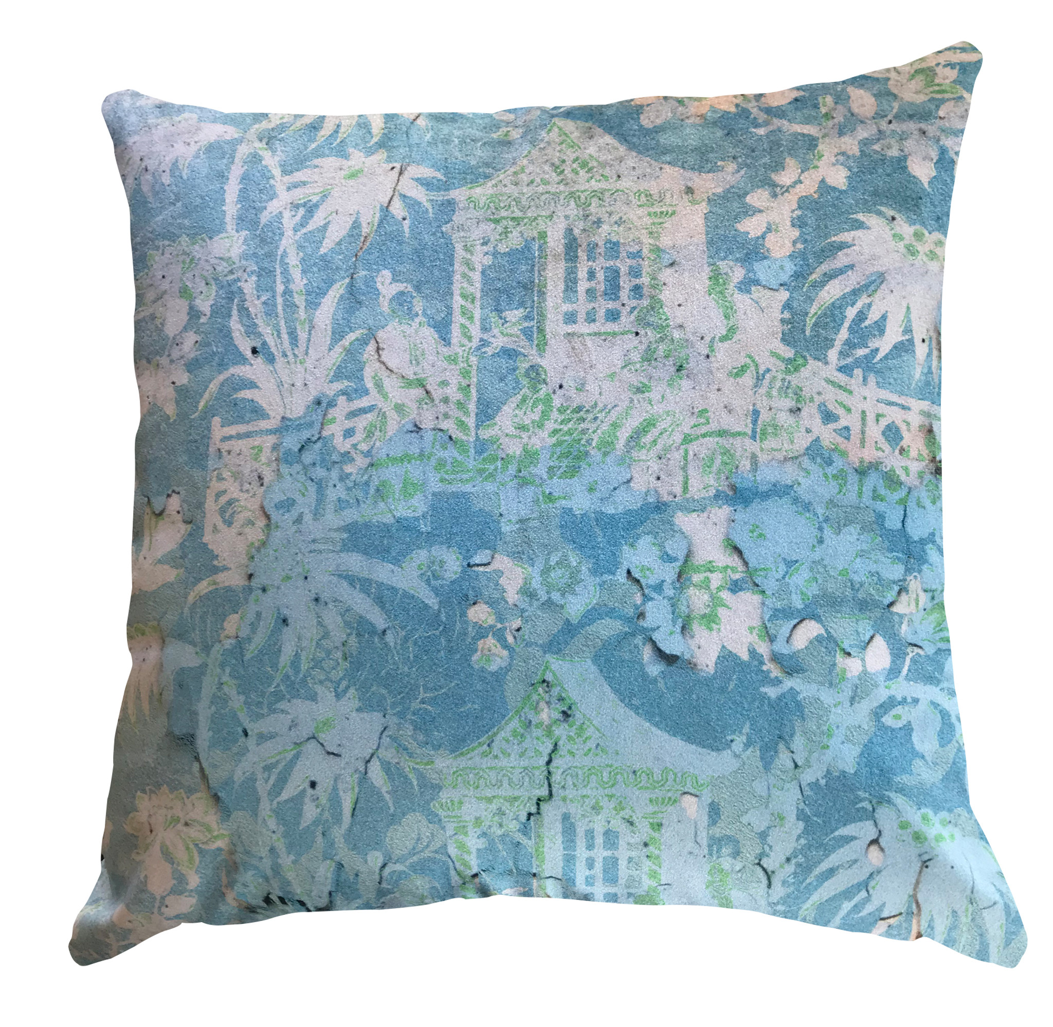 Cushion Cover - Chinoiserie - Enchanted Garden - Fading Blue