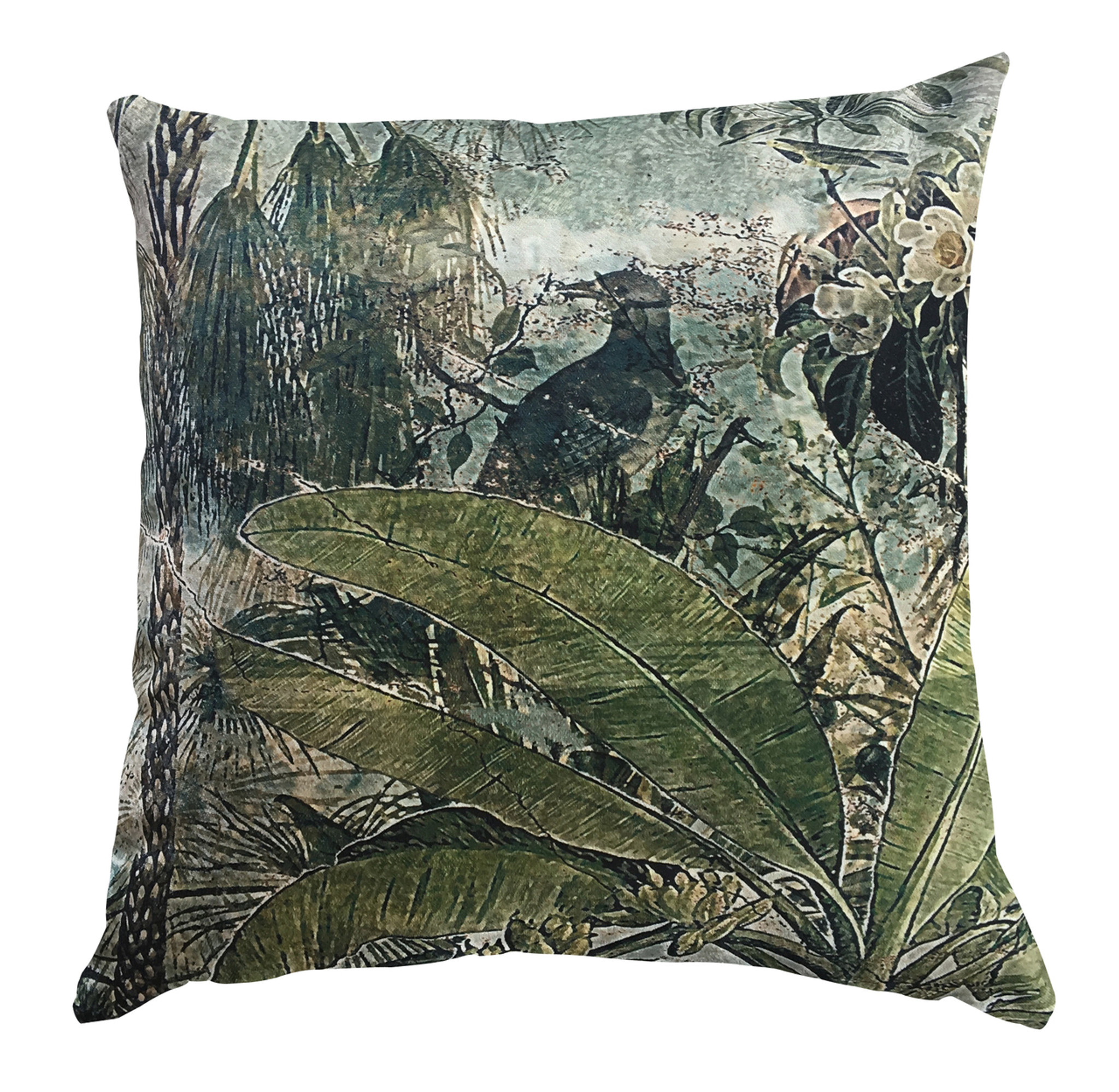 Outdoor Cushion Cover - Fading Forest with Bird