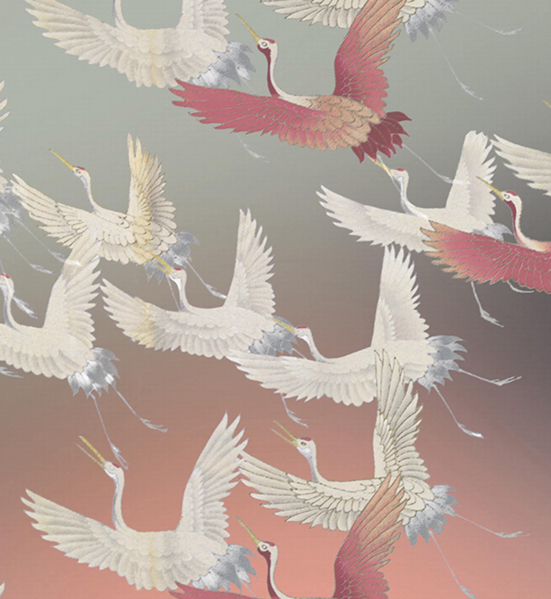 Fabric - Ryokan Dreaming - Cranes in Flight Pink