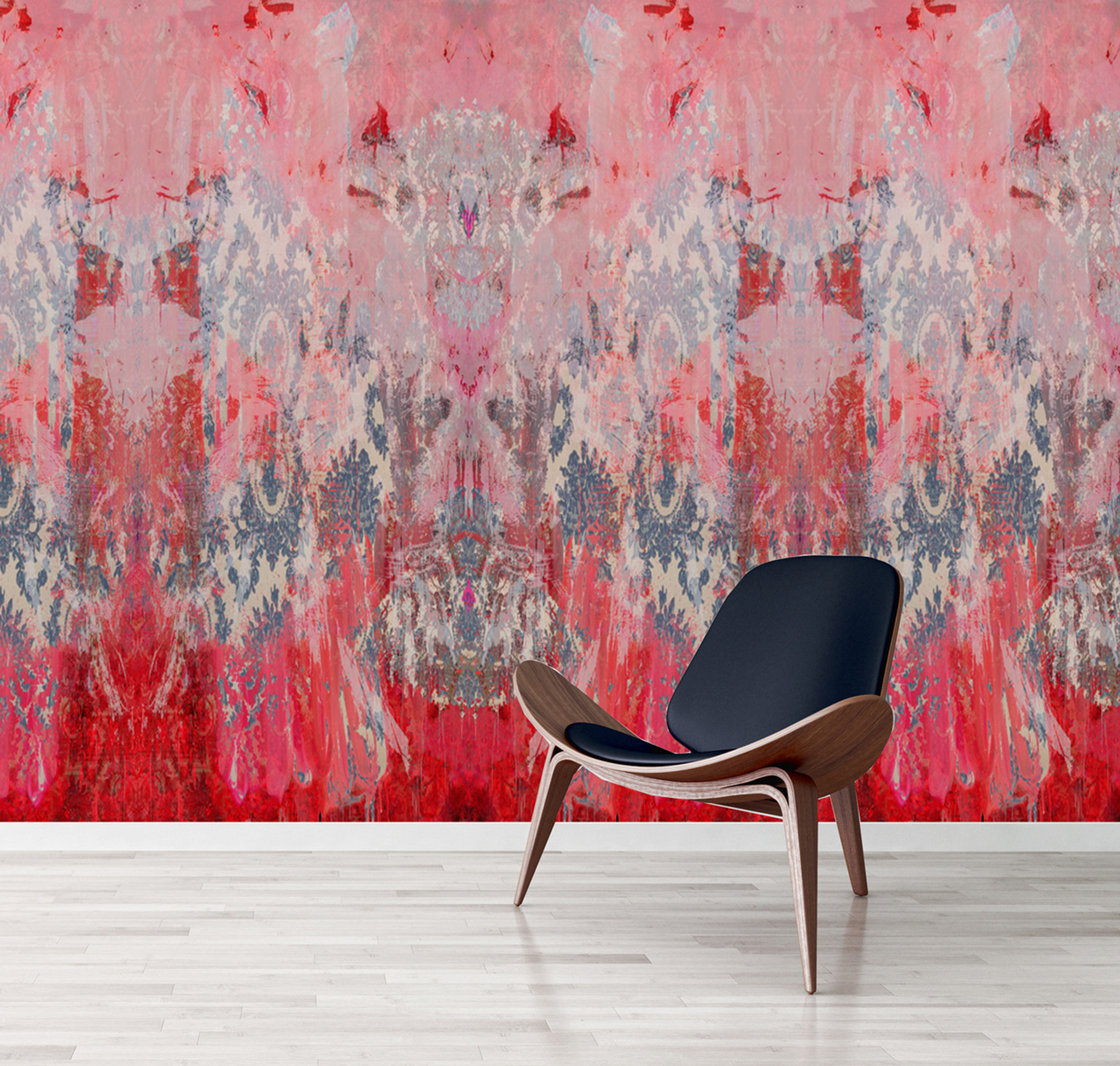 Wallpaper - Damask in Distress - Fading Pink