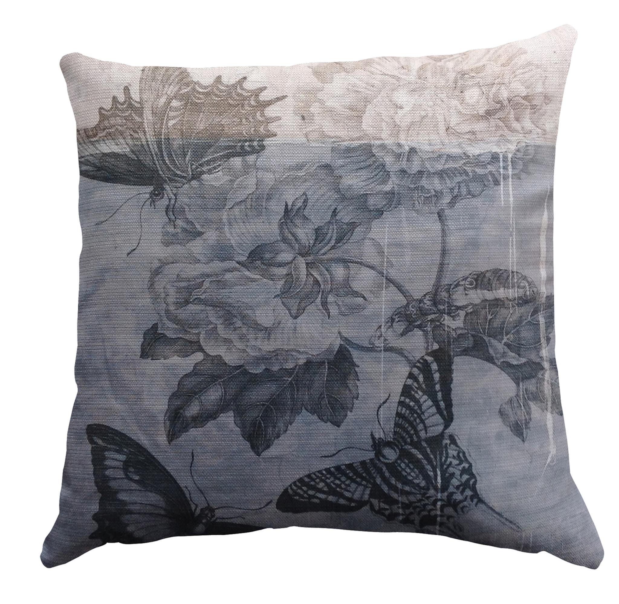 Cushion Cover - Botanical Graffiti - Blue Butterfly Day