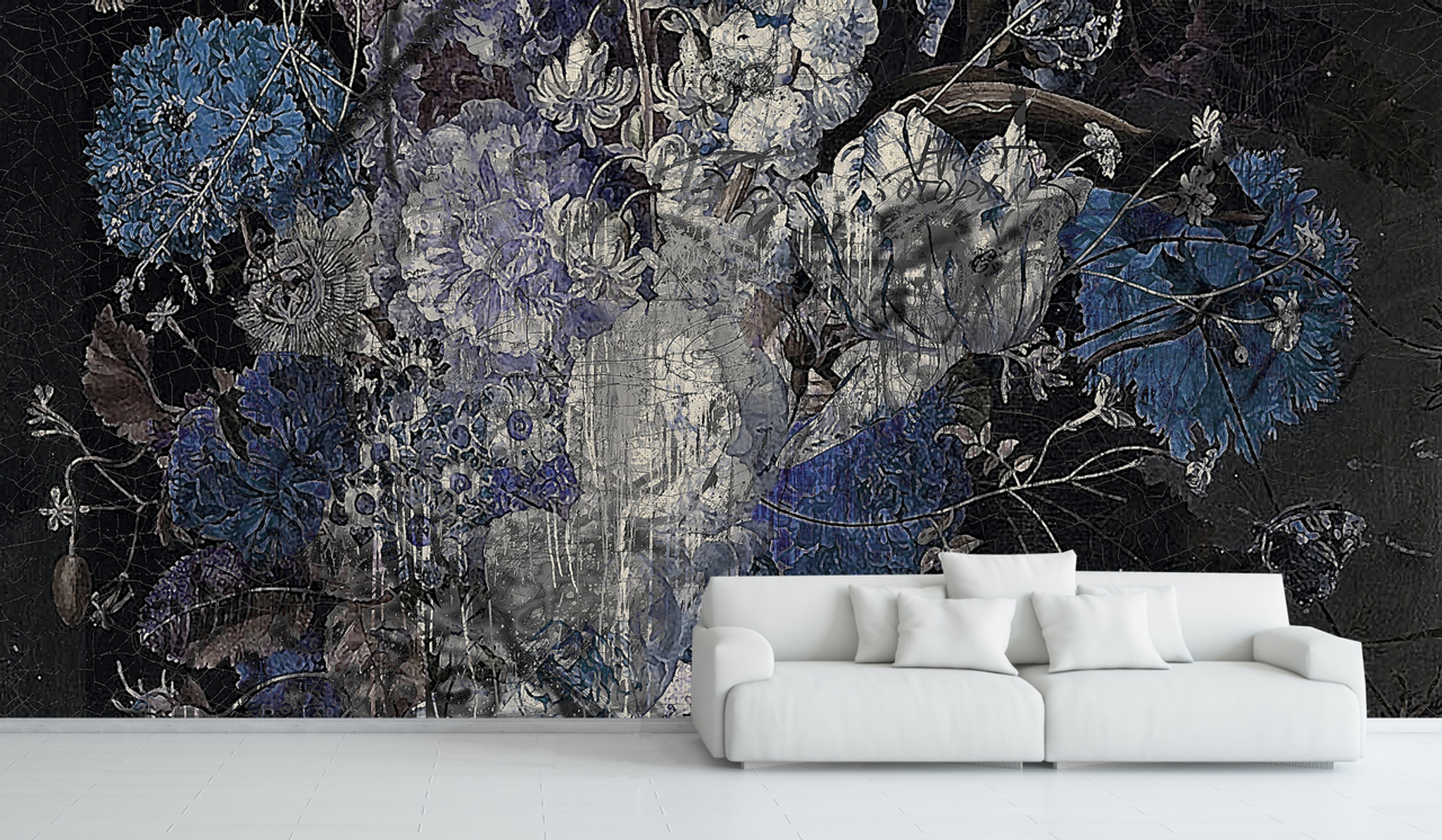 Wallpaper - Still Life with Flowers - Blue
