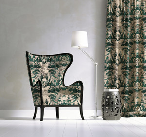 Fabric - Chinoiserie - Lucky Jade Garden - Emerald