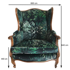 19TH CENTURY LOUIS XVI BUTTON BACK CHAIR - SPIKEY JUNGLE UPHOLSTERY (SOLD SEPARATELY OR AS A PAIR)