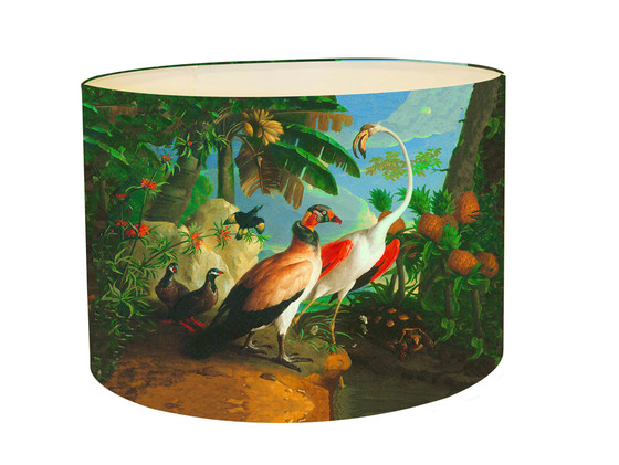 Lampshade Jungle Bird With Tropical Fruit Kerrie Brown