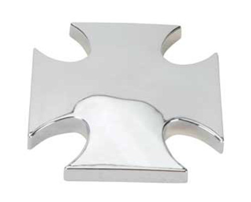 "Lowrider Chrome Steel Cross Front Knock Offs 3/8"" Hole 26 Thread"
