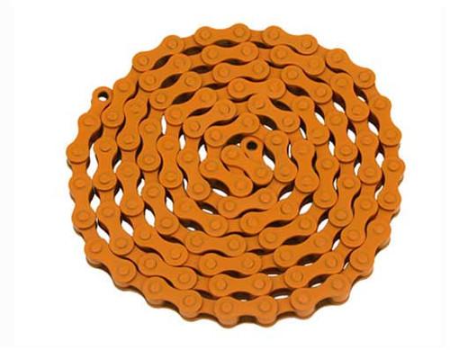Fixed Gear Orange Steel YBN Chains 1/2x1/8x112