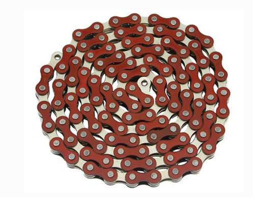 Fixed Gear Chrome/Red Steel YBN Chains 1/2x1/8x112