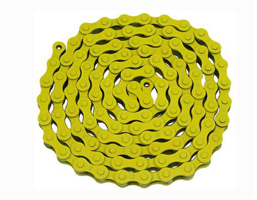 Fixed Gear Yellow Steel KMC Chains 1/2x1/8x112