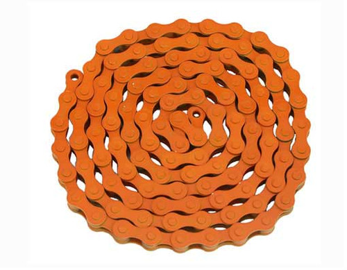 Fixed Gear Orange Steel KMC Chains 1/2x1/8x112