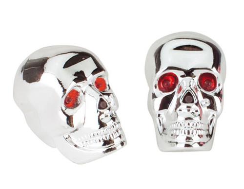 Chopper Chrome/Red Plastic End Skull W/Led  Grips