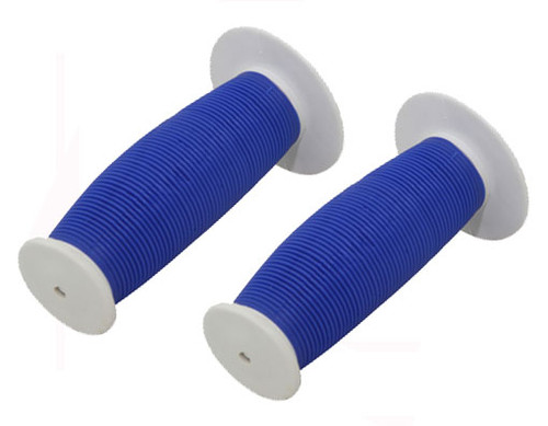Fixed Gear Blue/White Rubber Mushroom  Grips