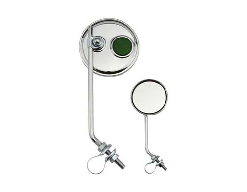 Lowrider Chrome Steel Round Green Reflectors Mirrors