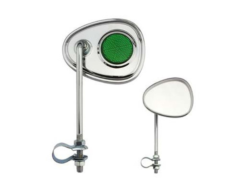 Cruiser Chrome Steel V Green Reflectors Mirrors