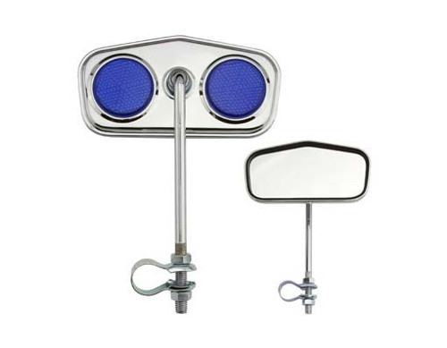 Lowrider Chrome Steel Diamond Blue Reflectors Mirrors