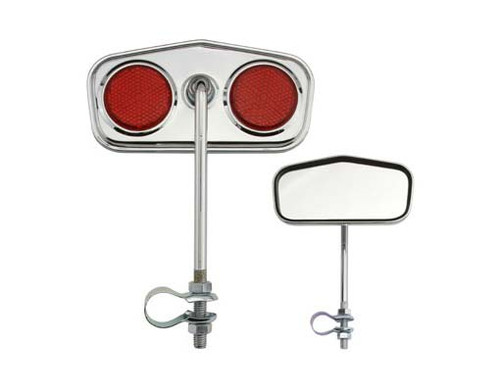 Lowrider Chrome Steel Diamond Red Reflectors Mirrors