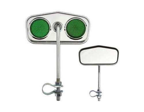 Lowrider Chrome Steel Diamond Green Reflectors Mirrors