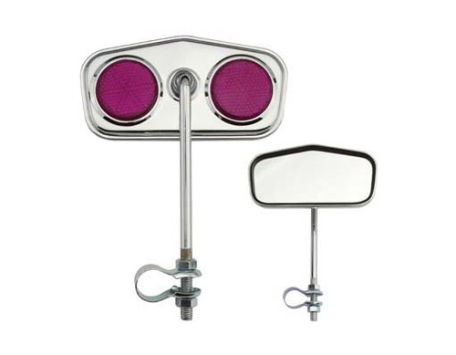 Lowrider Chrome Steel Diamond Purple Reflectors Mirrors