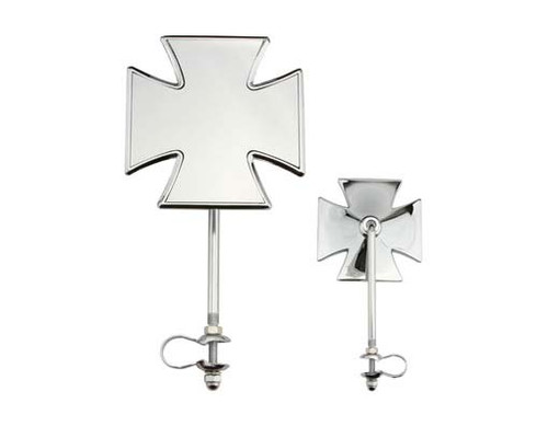 Chopper Chrome Steel Iron Cross Mirrors