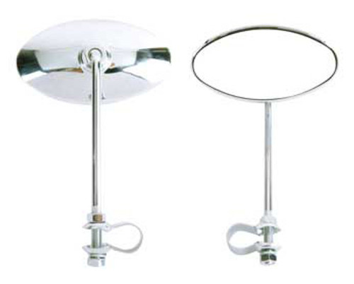 Chopper Chrome Steel Oval Mirrors