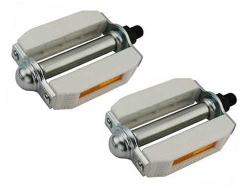 Lowrider Chrome/White Steel & Plastic Pvc 507 Pedals 1/2""