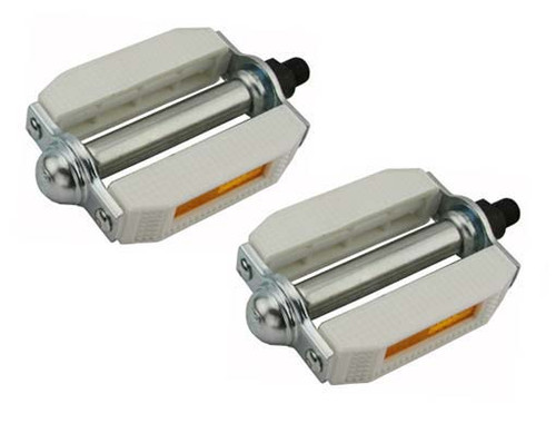 Lowrider Chrome/White Steel & Plastic Pvc 507 Pedals 9/16""