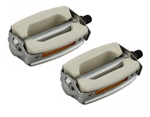 Lowrider Chrome/White Steel & Plastic Krate Pedals 1/2""
