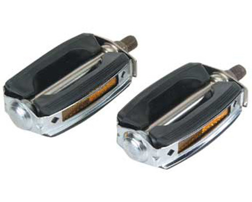 Lowrider Black/Chrome Steel & Plastic Krate Pedals 1/2""